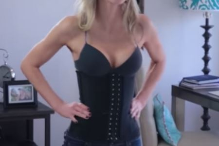 lady wearing waist trainer
